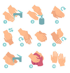 How wash hands washing hands properly step vector
