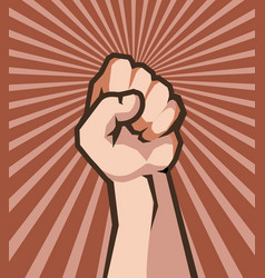 human hand in fist protest vector image