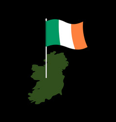 ireland map and flag irish banner and land vector image