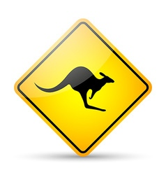Kangaroo road sign vector