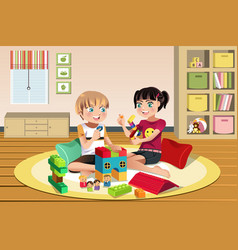 Kids playing toys vector