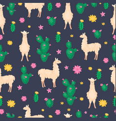 Lama and cactus seamless pattern alpaca wool and vector