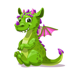 Little cute cartoon sitting green dragon fantasy vector