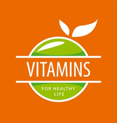 Logo vitamins green apples vector