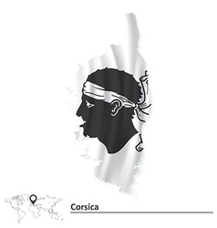 Map corsica with flag vector