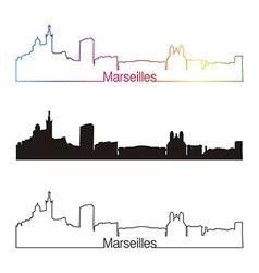 marseilles skyline linear style with rainbow vector image