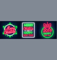 merry christmas and happy new year neon lettering vector image