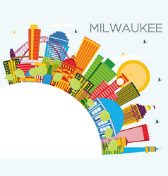 milwaukee skyline with color buildings blue sky vector image