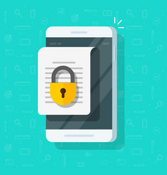 mobile phone with secure confidential document vector image