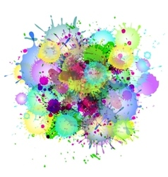 Multicolored watercolor paint splatters vector