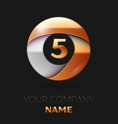 Number five logo symbol in golden-silver circle vector