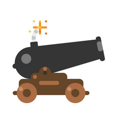 Old ship cannon with burning wick flat vector