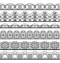 Ornate vintage line border set isolated on white vector