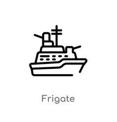 Outline frigate icon isolated black simple line vector