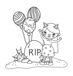 Outline girl with kitten costume with rip stone vector