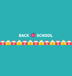 pencil set line back to school card green vector image