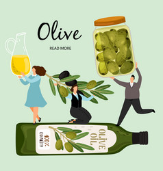 People hold olive products vector