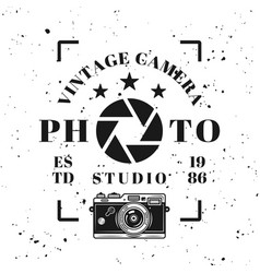 photo studio vintage typographical emblem vector image
