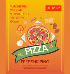 pizza delivery poster fast vector image