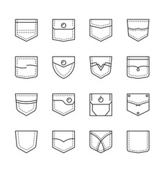 pocket shapes textile sew clopockets bag vector image