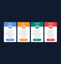 Pricing table template for business plan vector