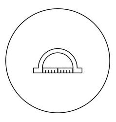 protractor black icon in circle outline vector image
