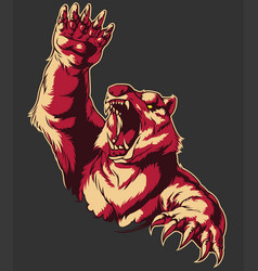 retro angry bear attacking roaring isolated vector image