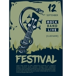 Rock music poster with snake and guitar Grunge vector