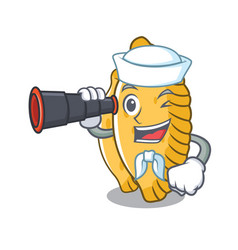 Sailor with binocular pastel mascot cartoon style vector