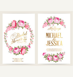 save date card with text place and flower vector image