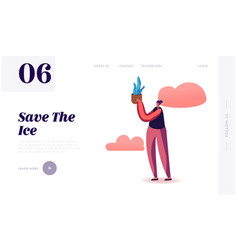save planet and ice website landing page vector image