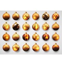 Set of golden cristmas balls vector