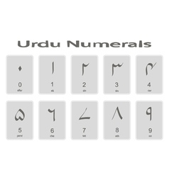 Set of monochrome icons with urdu numerals vector image