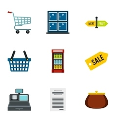 Shop icons set flat style vector