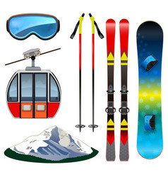 Ski resort icons vector