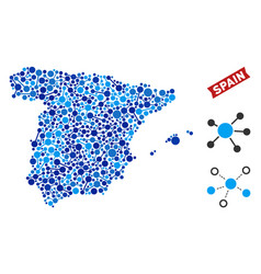Spain map connections collage vector