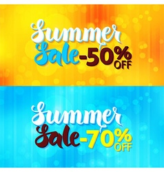 Summer Sale Web Promo Banners over Blurred vector image