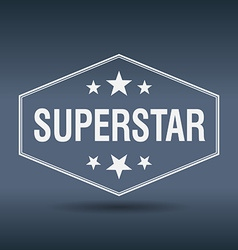 Superstar hexagonal white vintage retro style vector