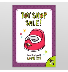 Toy shop sale flyer design with pink baby potty vector image