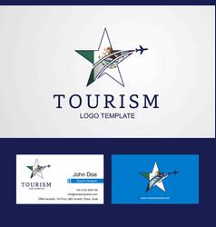 Travel mexico flag creative star logo and vector