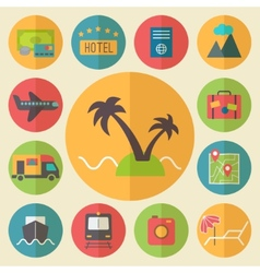 Travel tourism and vacation icons set flat design vector image