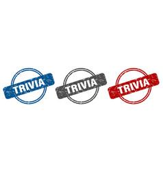 Trivia stamp trivia sign trivia label set vector