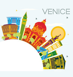 Venice skyline with color buildings blue sky and vector