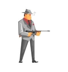 Vintage Style Mafioso With Machine Gun vector