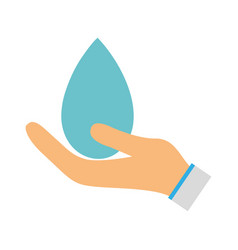 water drop symbol to environment care in the hand vector image
