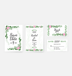 wedding invitation card template with floral vector image