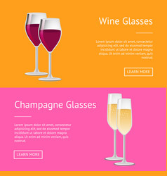 wine and champagne glasses set of web posters vector image
