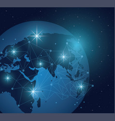 world and connection vector image