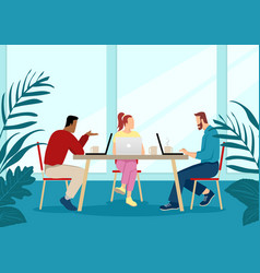 Young people in casual wear working together vector