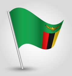 Zambian flag on pole vector